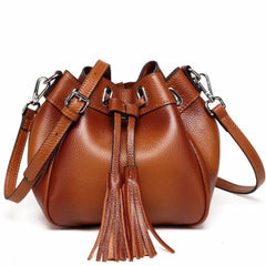 Jolie Mini Leather Bucket Crossbody Bag - Brown Handbags - Vicenzo Leather