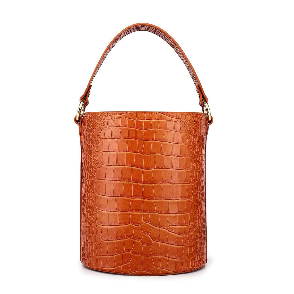 Olympia Croc Embossed Leather Cylinder Handbag Handbags - Vicenzo Leather - Designer