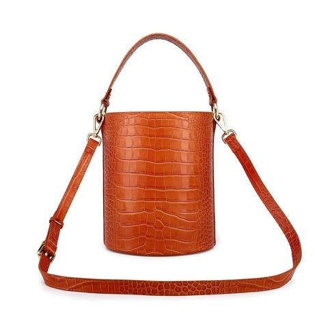 Olympia Croc Embossed Leather Cylinder Handbag/Crossbody