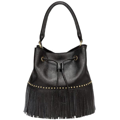 Zurie Leather Fringe Bucket Bag Handbags - Vicenzo Leather - Designer