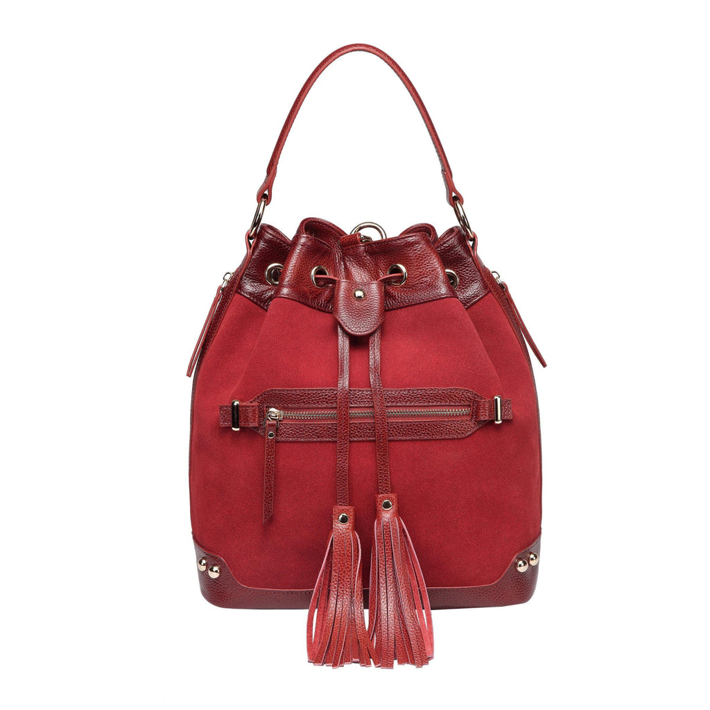 Sonia Suede Leather Bucket bag/ Backpack Backpack - Vicenzo Leather - Designer