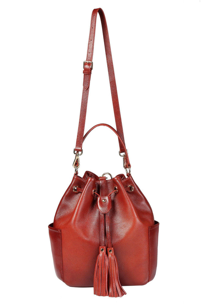 Chalise Leather Bucket Bag Backpack- RED Handbags - Vicenzo Leather - Designer