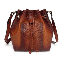 Danielle Lizard print Leather Bucket Bag