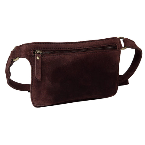 Karla Suede Leather Waistbag- Dark Brown Waistpack - Vicenzo Leather - Designer