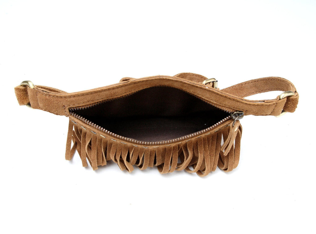 Daisi Suede Leather Fringe Waistbag Waistpack - Vicenzo Leather - Designer