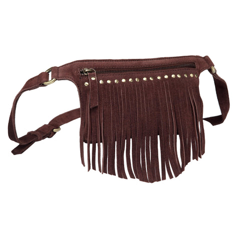 Daisi Suede Leather Fringe Waistbag-Dark Brown Waistpack - Vicenzo Leather - Designer