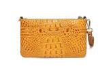 Daci Croc Leather Crossbody/Clutch - Brown