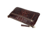 Daci Croc Leather Crossbody/Clutch - Brown crossbody bag - Vicenzo Leather - Designer