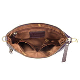 Macy Distressed Leather Crossbody/Clutch - Plum crossbody bag - Vicenzo Leather - Designer