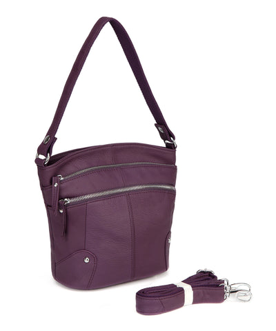 Cassie Leather Crossbody Handbag-Purple Handbags - Vicenzo Leather - Designer