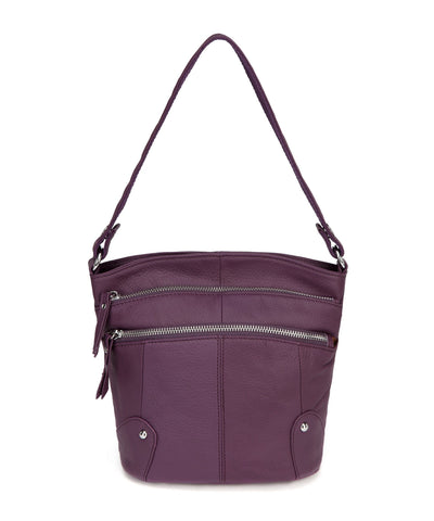 Cassie Leather Crossbody Handbag-Purple
