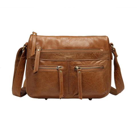 Zinnia Leather Crossbody Handbag-Light Brown