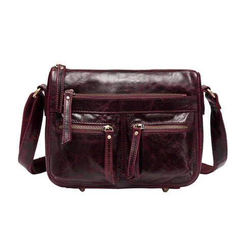 Zinnia Leather Crossbody Handbag-Wine