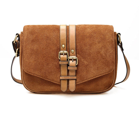 Jeanie Suede Leather Crossbody Handbag
