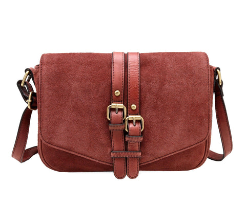 Jeanie Suede Leather Crossbody Handbag - Wine