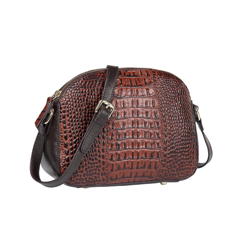 Remmy Croc Embossed Leather Crossbody Bag crossbody bag - Vicenzo Leather - Designer