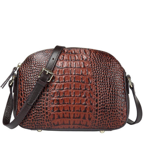 Remmy Croc Embossed Leather Crossbody Bag  - Vicenzo Leather - Designer