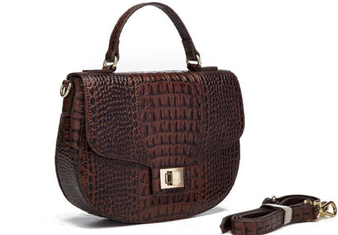 Lyana Croc Embossed Leather Crossbody Handbag crossbody bag - Vicenzo Leather - Designer
