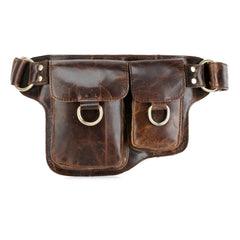 Adonis 2  Leather Waist Purse Fanny Pack Hip Bag (X-Brown)
