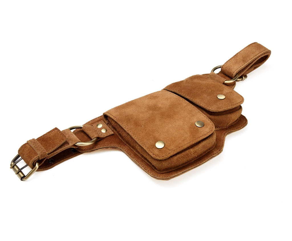 Floretta Suede Leather Waist Bag waist pack - Vicenzo Leather - Designer