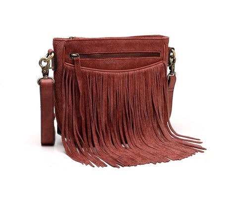 Ivonne Suede Leather Fringe Crossbody Handbag- Red Handbags - Vicenzo Leather - Designer