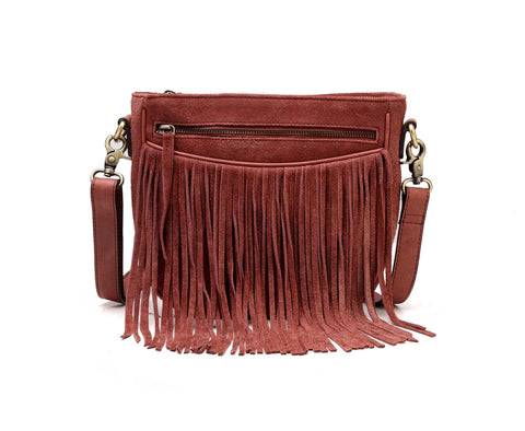 Ivonne Suede Leather Fringe Crossbody Handbag- Red