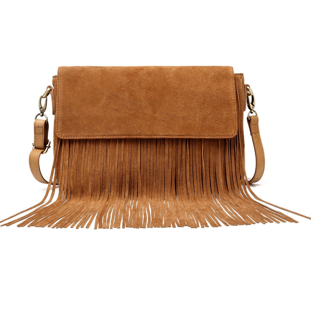 Allyson Suede Leather Fringe Crossbody Bag crossbody bag - Vicenzo Leather - Designer