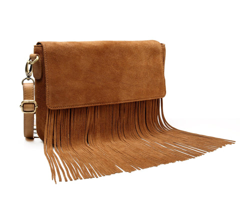 Allyson Suede Leather Fringe Crossbody Handbag Handbags - Vicenzo Leather - Designer
