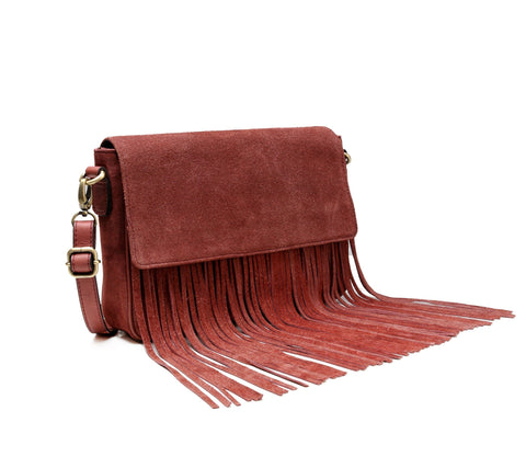 Allyson Suede Leather Fringe Crossbody Handbag- Red Handbags - Vicenzo Leather - Designer