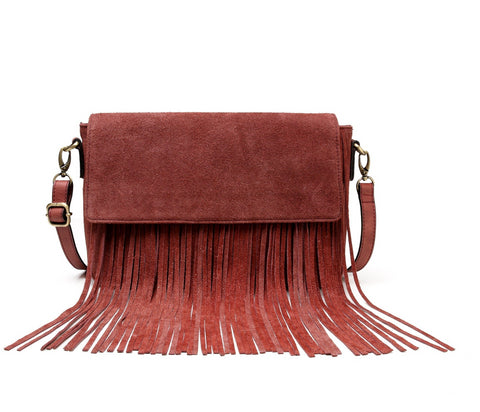 Allyson Suede Leather Fringe Crossbody Handbag- Red