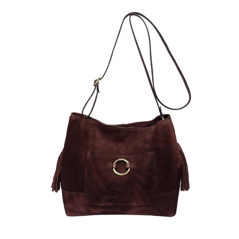 Cammi Suede Leather Handbag-Dark Brown Handbags - Vicenzo Leather - Designer