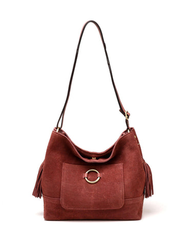 Cammi Suede Leather Handbag - Red Handbags - Vicenzo Leather - Designer