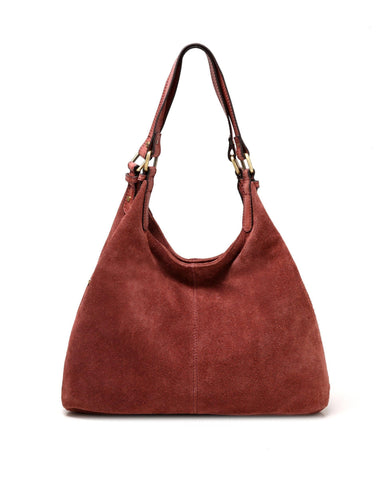 Joi Suede Leather Handbag- Red