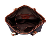 Siena Waxed Canvas Leather Handbag Tote- Navy Handbags - Vicenzo Leather - Designer