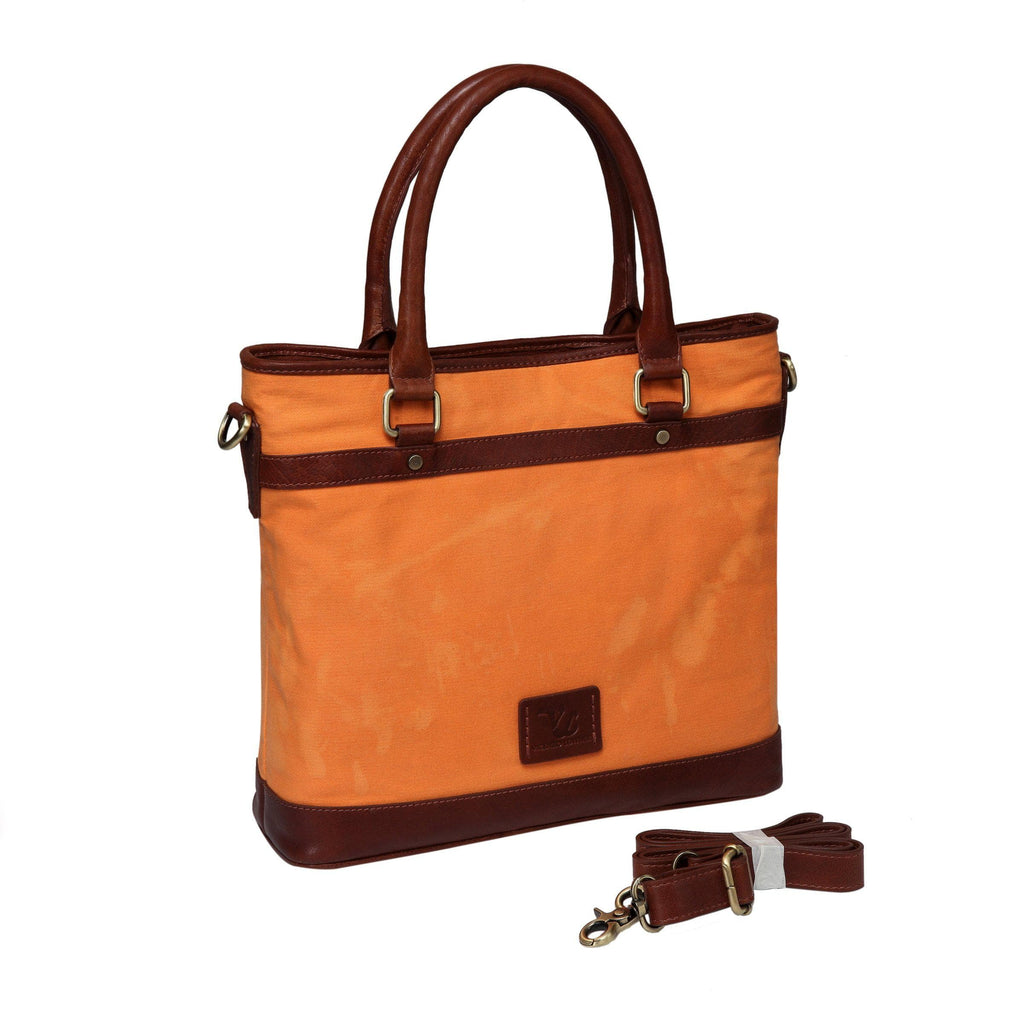 Alessandra Waxed Canvas Leather Shoulder Handbag Tote- Carrot Handbags - Vicenzo Leather - Designer