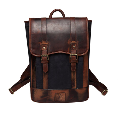 Gianna Waxed Canvas Leather Handbag Backpack Backpack - Vicenzo Leather - Designer