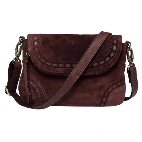 Mae Suede Leather Crossbody Handbag-Dark Brown Handbags - Vicenzo Leather - Designer