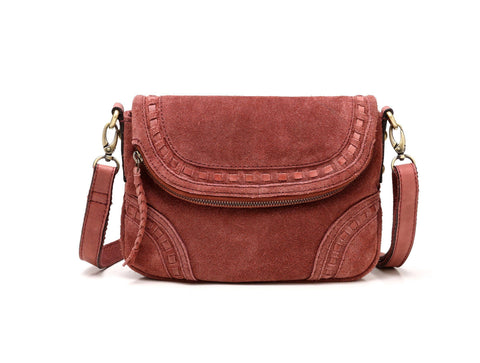 Mae Suede Leather Crossbody Handbag Handbags - Vicenzo Leather - Designer