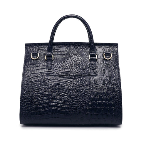 Alexxy Croc Embossed Leather Tote - Blue Handbags - Vicenzo Leather - Designer