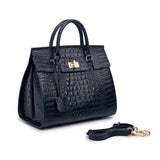 Alexxy Croc Embossed Leather Top Handle Tote - Blue Handbags - Vicenzo Leather - Designer
