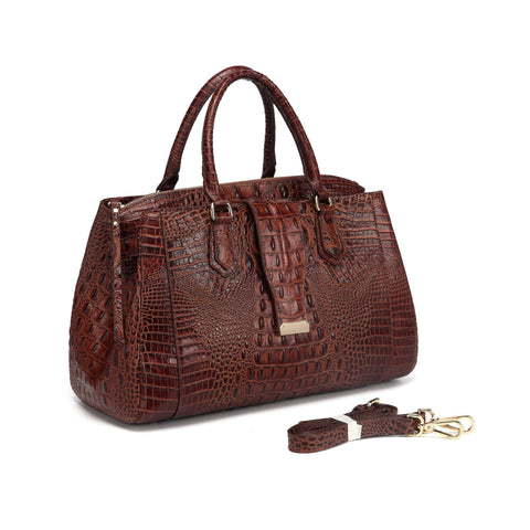 Olivia Croc Embossed Leather handbag Handbags - Vicenzo Leather - Designer
