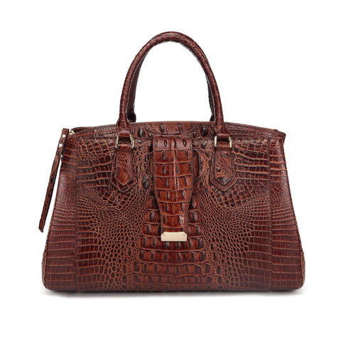 Octavia Croc Leather Handbag Handbags - Vicenzo Leather - Designer