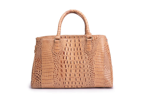 Octavia Croc Leather Handbag-Brown Handbags - Vicenzo Leather - Designer