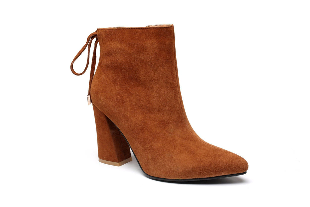 Gale Plush Leather Ankle Bootie Women Shoes - Vicenzo Leather - Designer