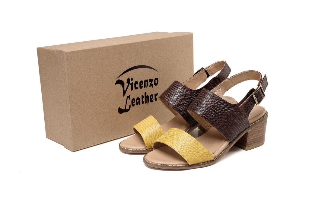 Valentina Chunky Heel Women Leather Sandal Women Shoes - Vicenzo Leather - Designer