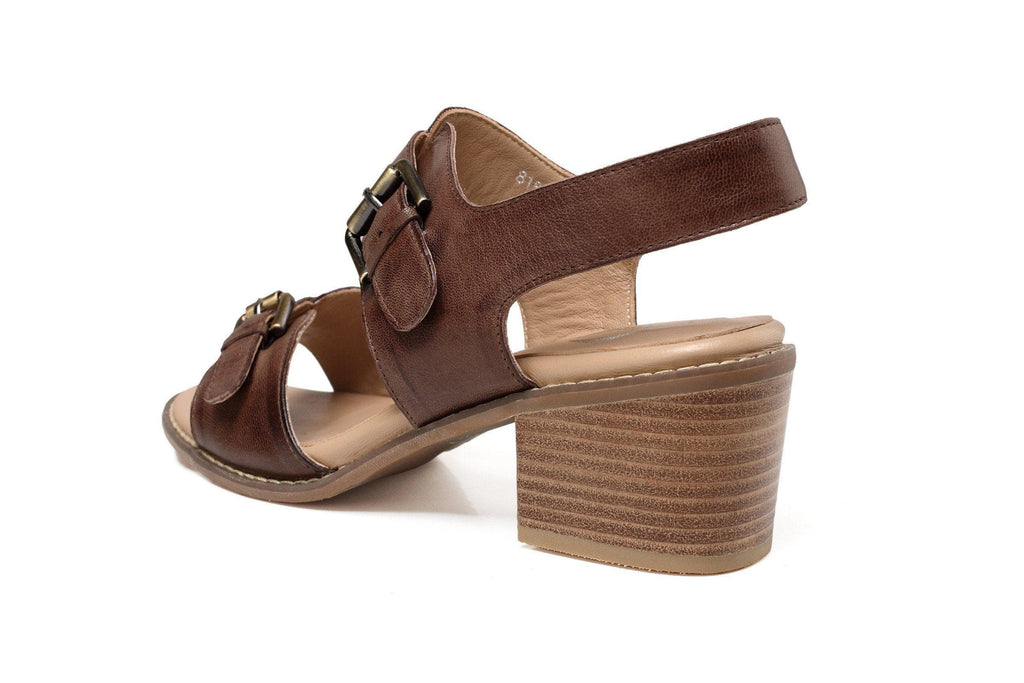 Tabitha Chunky Heel Women Leather Sandal Women Shoes - Vicenzo Leather - Designer