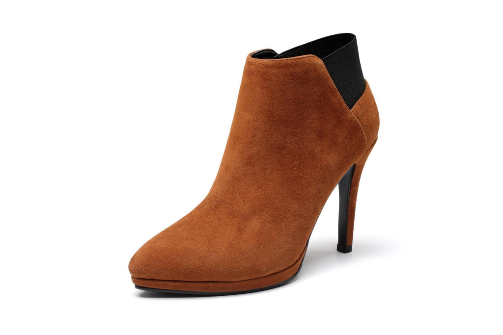 Ellen Plush Leather Ankle Pointed Stiletto Bootie Women Shoes - Vicenzo Leather - Designer
