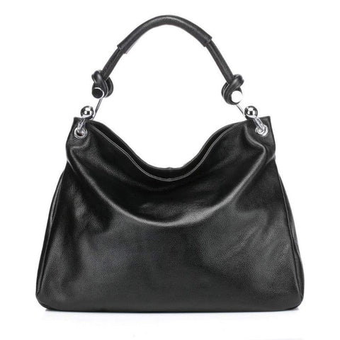 Kimberly Leather Tote Shoulder Handbag -Black Handbags - Vicenzo Leather - Designer