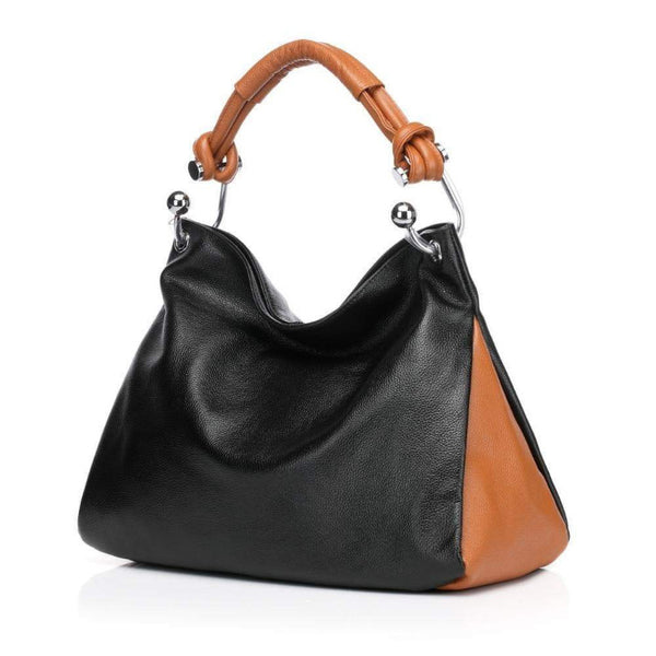 Melissa Leather Tote Shoulder Handbag - Black Handbags - Vicenzo Leather