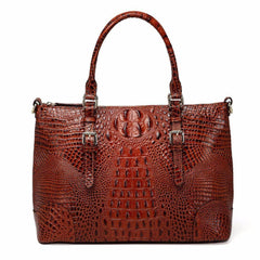 Carole Croc Embossed Leather Tote Handbag - Chestnut